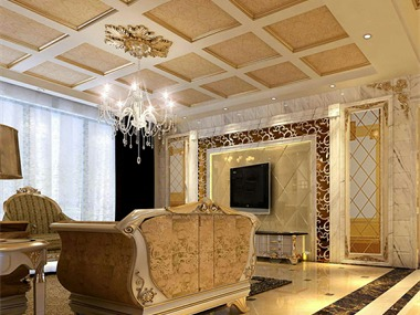 欧式风格线角变化丰富,家具及灯饰都略显欧式特色并有