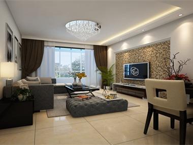 中式的木质家具配上简单的电视背景墙使客厅具有中式的