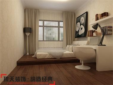 本案的设计效果以新中式为主。将客厅阳台打掉,增加室