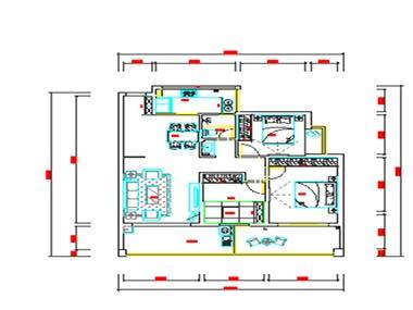 本案巧妙运用墙面修饰将其客厅、卧室融为一体。色系与