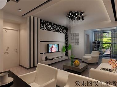 黑白客厅电视背景墙效果图