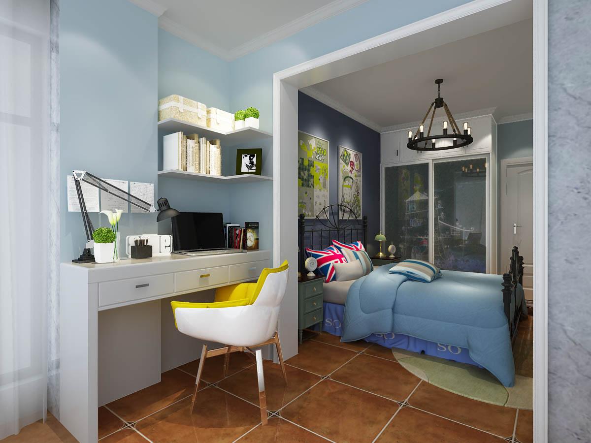 美式卧室工作区效果图