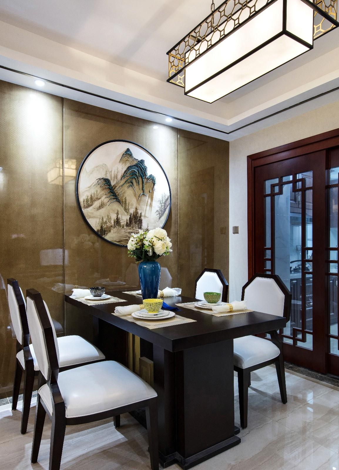 中式餐廳背景墻實景圖