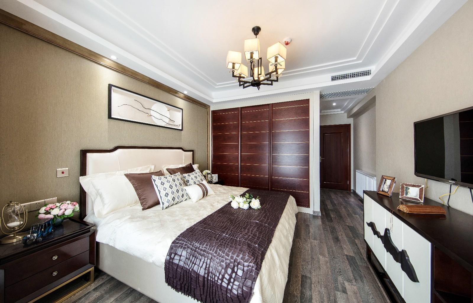 中式臥室吊頂實景圖