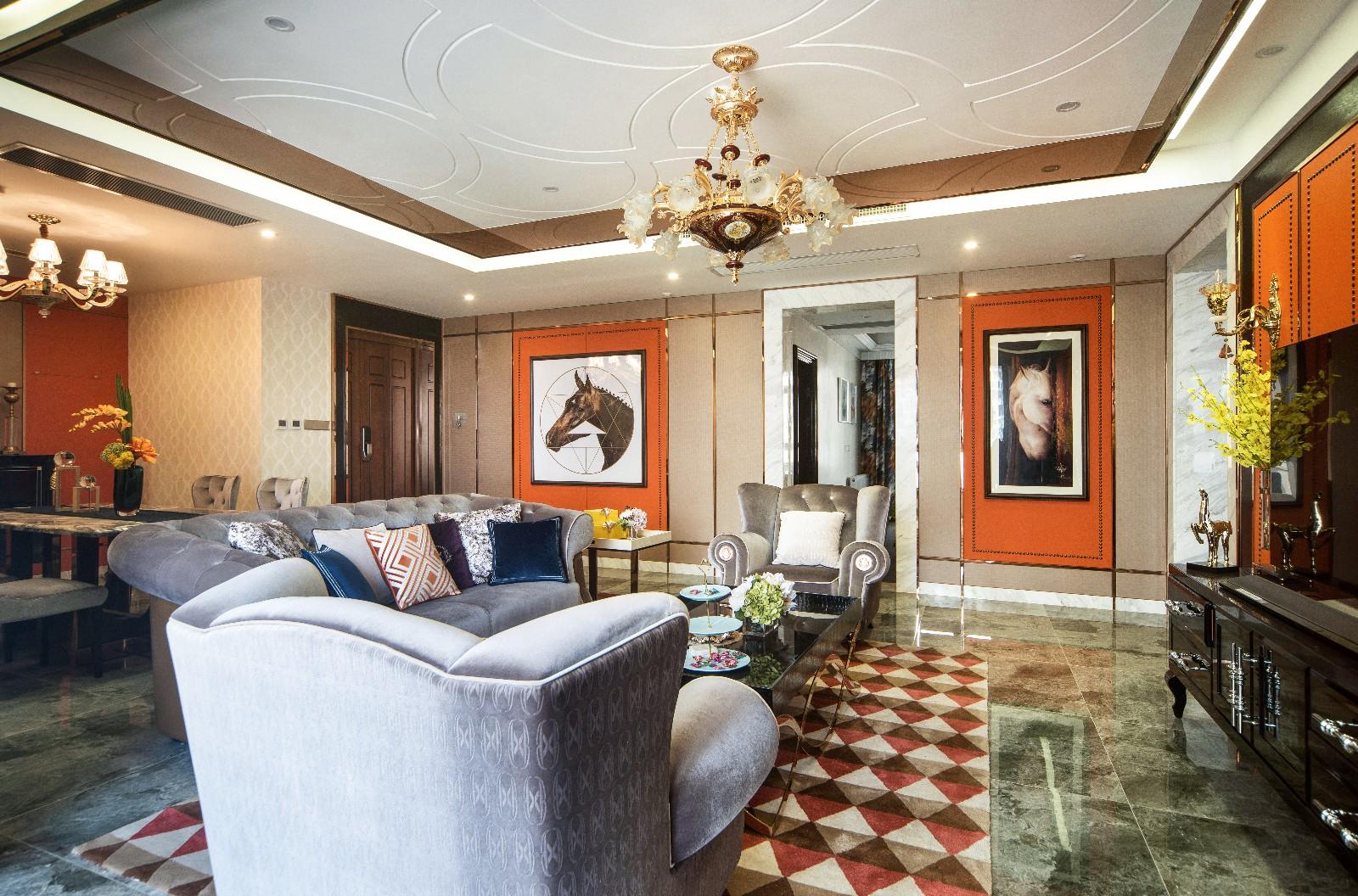 现代客厅吊顶实景图