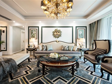 美式客厅沙发背景墙实景图
