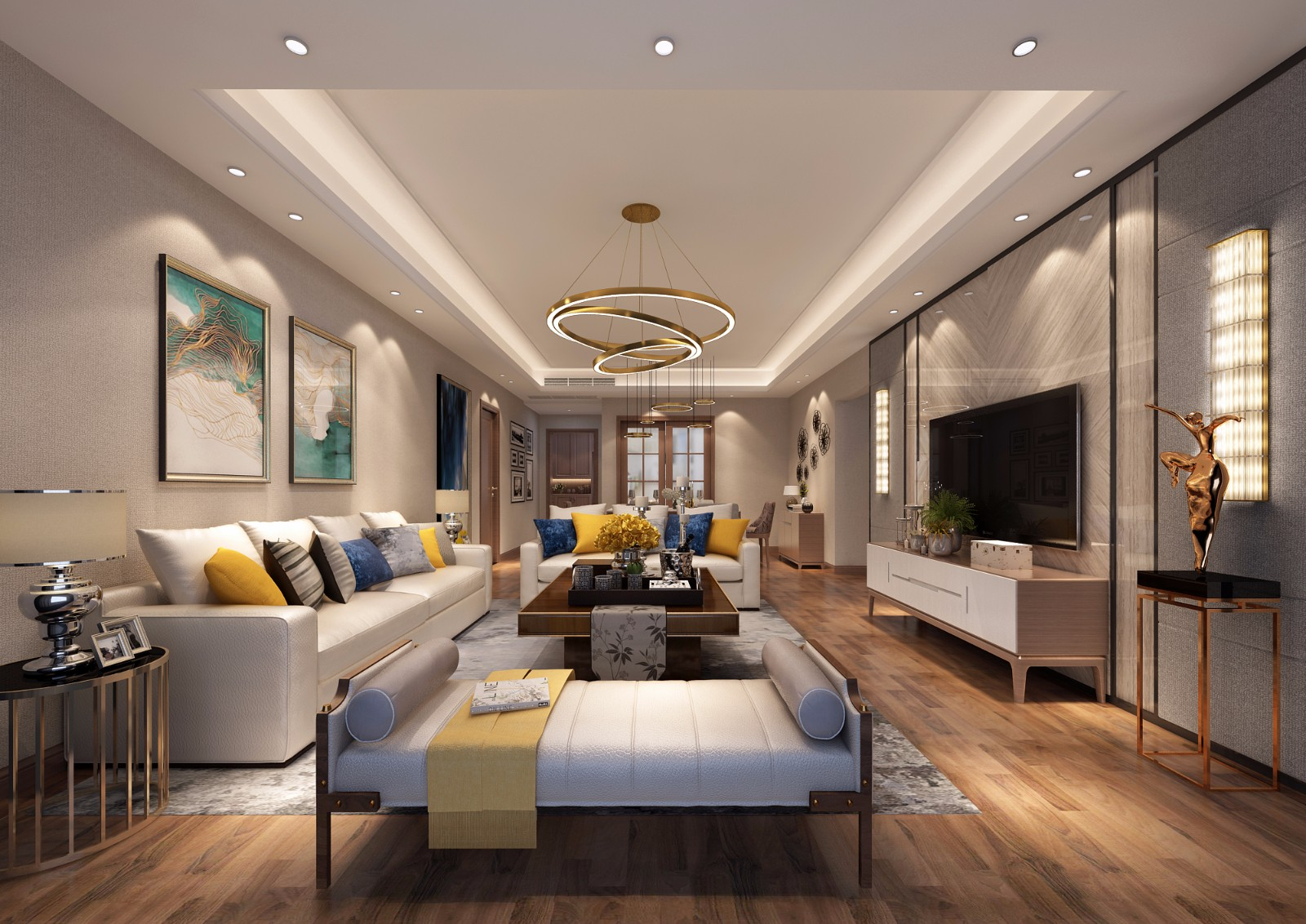 新古典客廳沙發背景墻效果圖