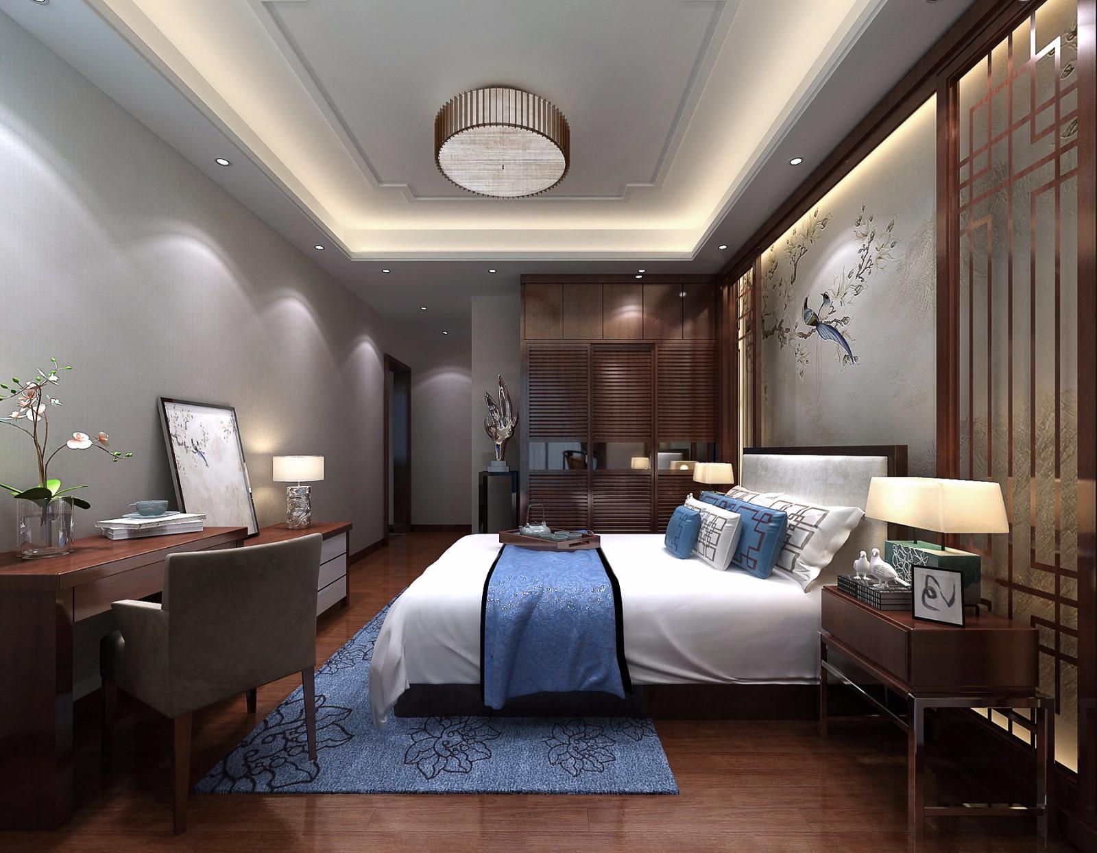 中式卧室背景墙效果图