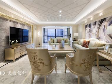 美式客厅吊顶实景图