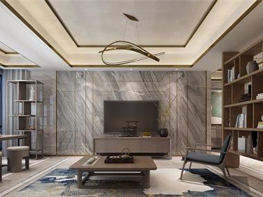 中式客厅电视背景墙效果图