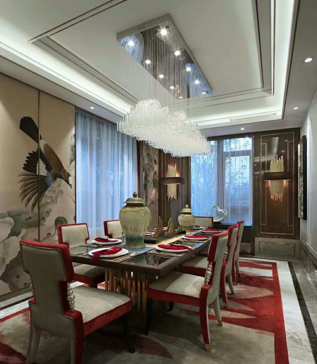 新古典餐厅吊顶实景图