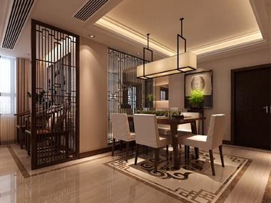 新中式餐厅吊顶效果图