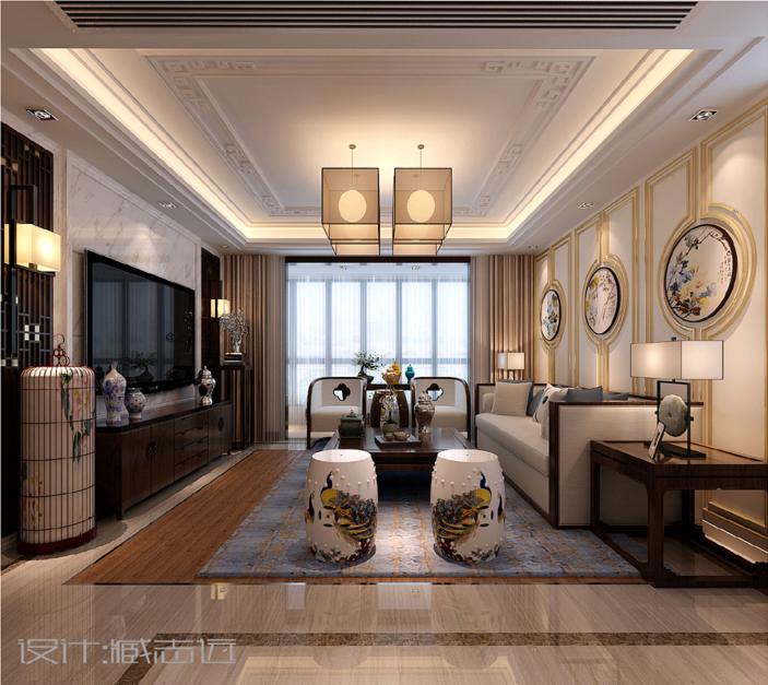 新中式客厅吊顶效果图