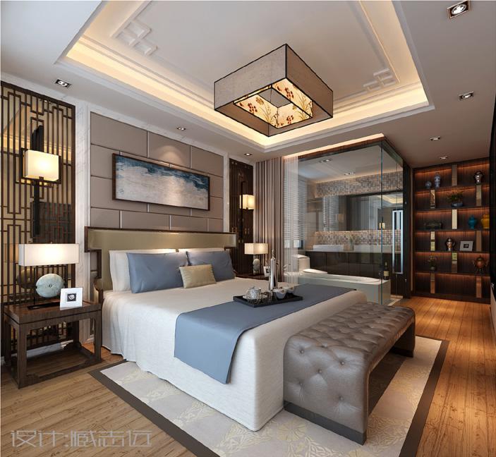 新中式卧室背景墙效果图