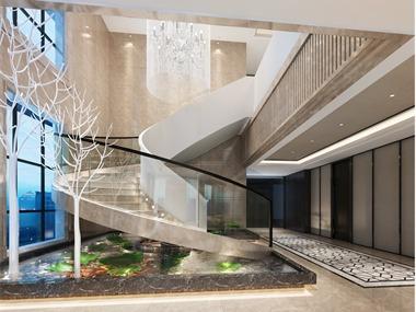 中式玄关楼梯效果图