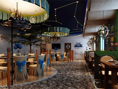 海港之夜餐厅过道
