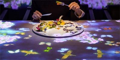 东京推出投影式交互餐厅 独特的全方位感官体验