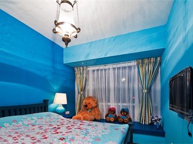地中海儿童房背景墙效果图