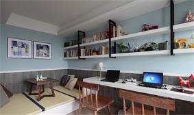 现代书房工作区实景图