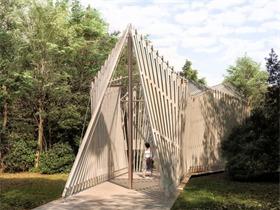 """福斯特公布参展威尼斯双年展作品 """"Sanctuary"""",放射性木结构教堂映衬泻湖风光"""