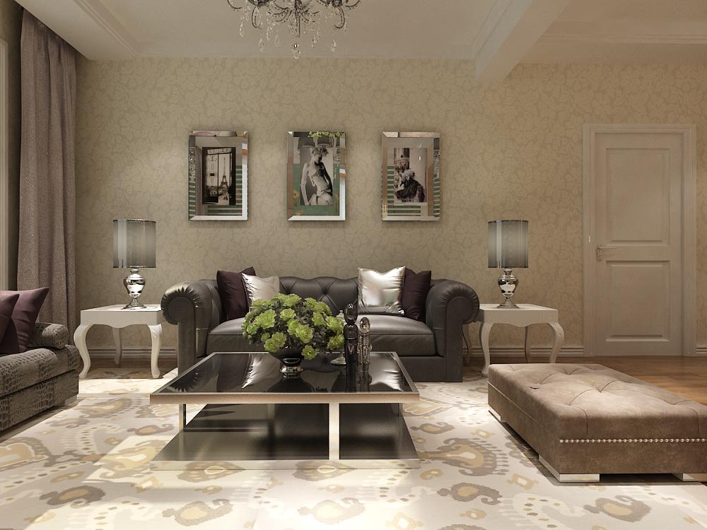 简约客厅照片墙效果图